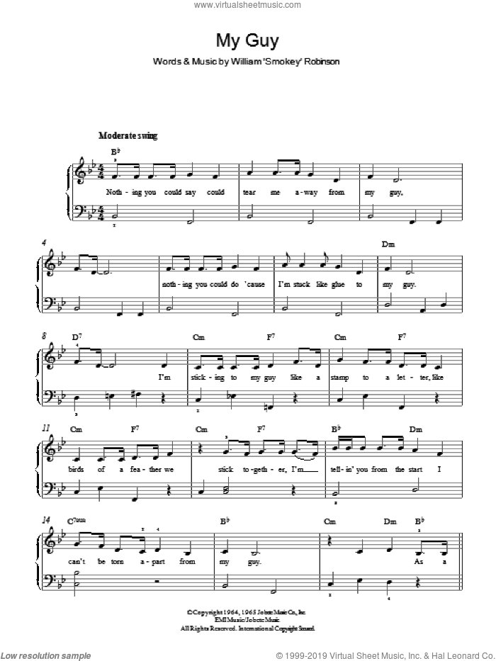 My Guy sheet music for piano solo by Mary Wells, easy skill level