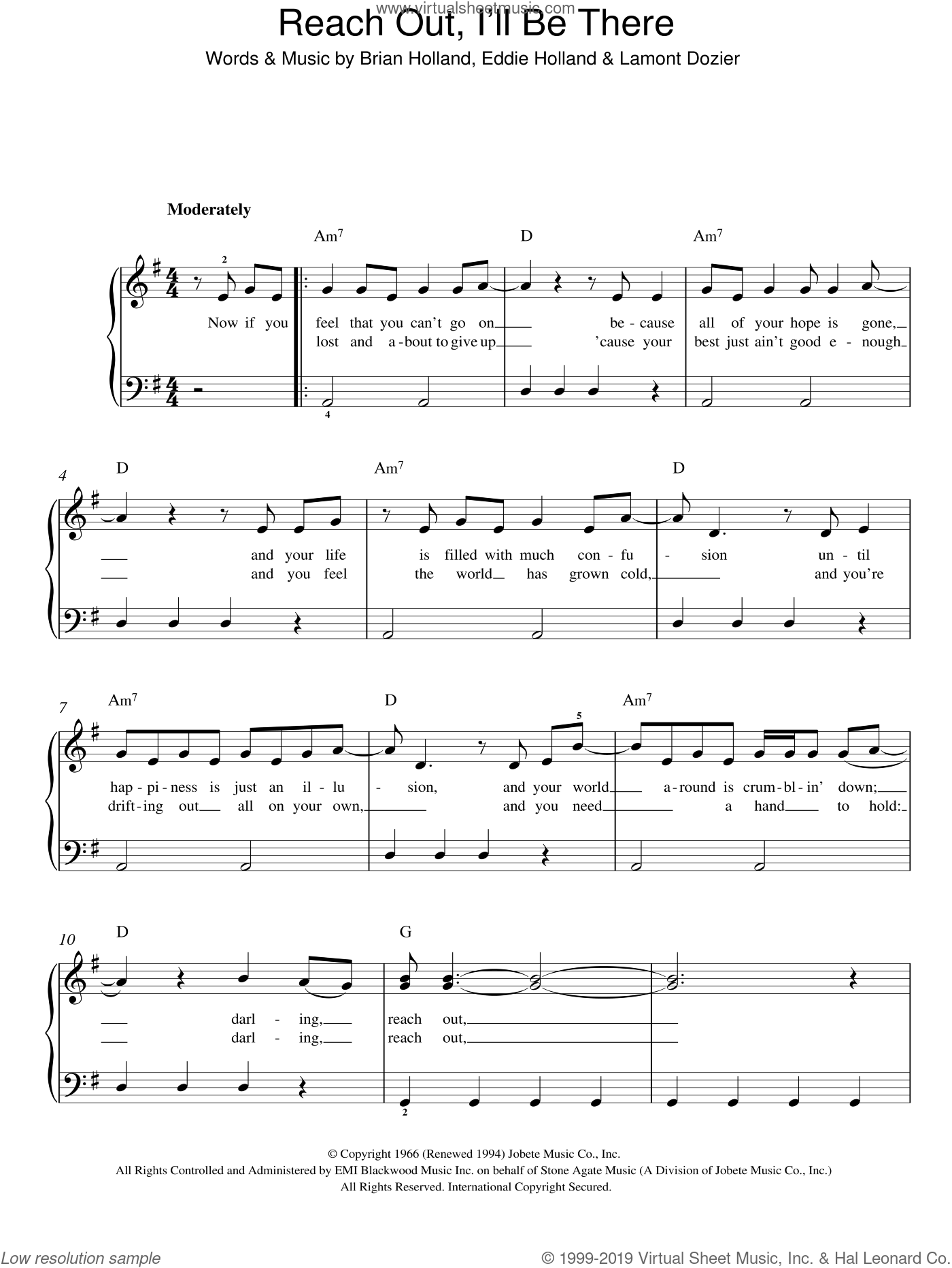 Reach Out, I'll Be There sheet music for piano solo by Lamont Dozier, The Four Tops, Brian Holland and Eddie Holland. Score Image Preview.
