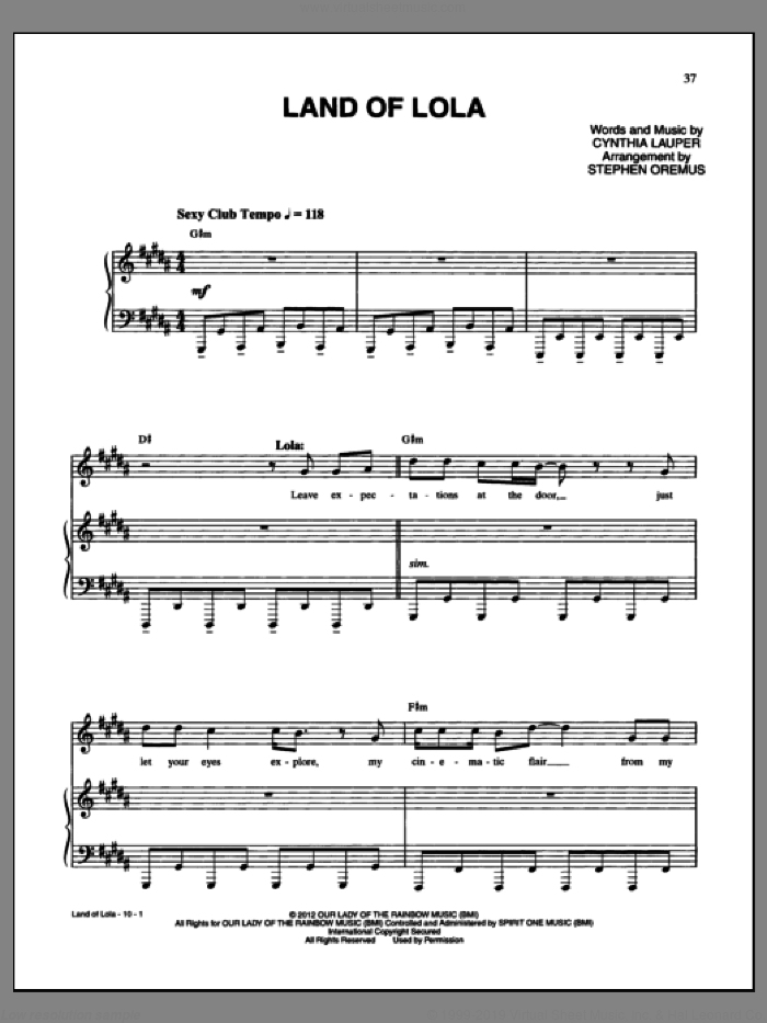 Land Of Lola sheet music for voice and piano by Cynthia Lauper and Kinky Boots (Musical), intermediate skill level