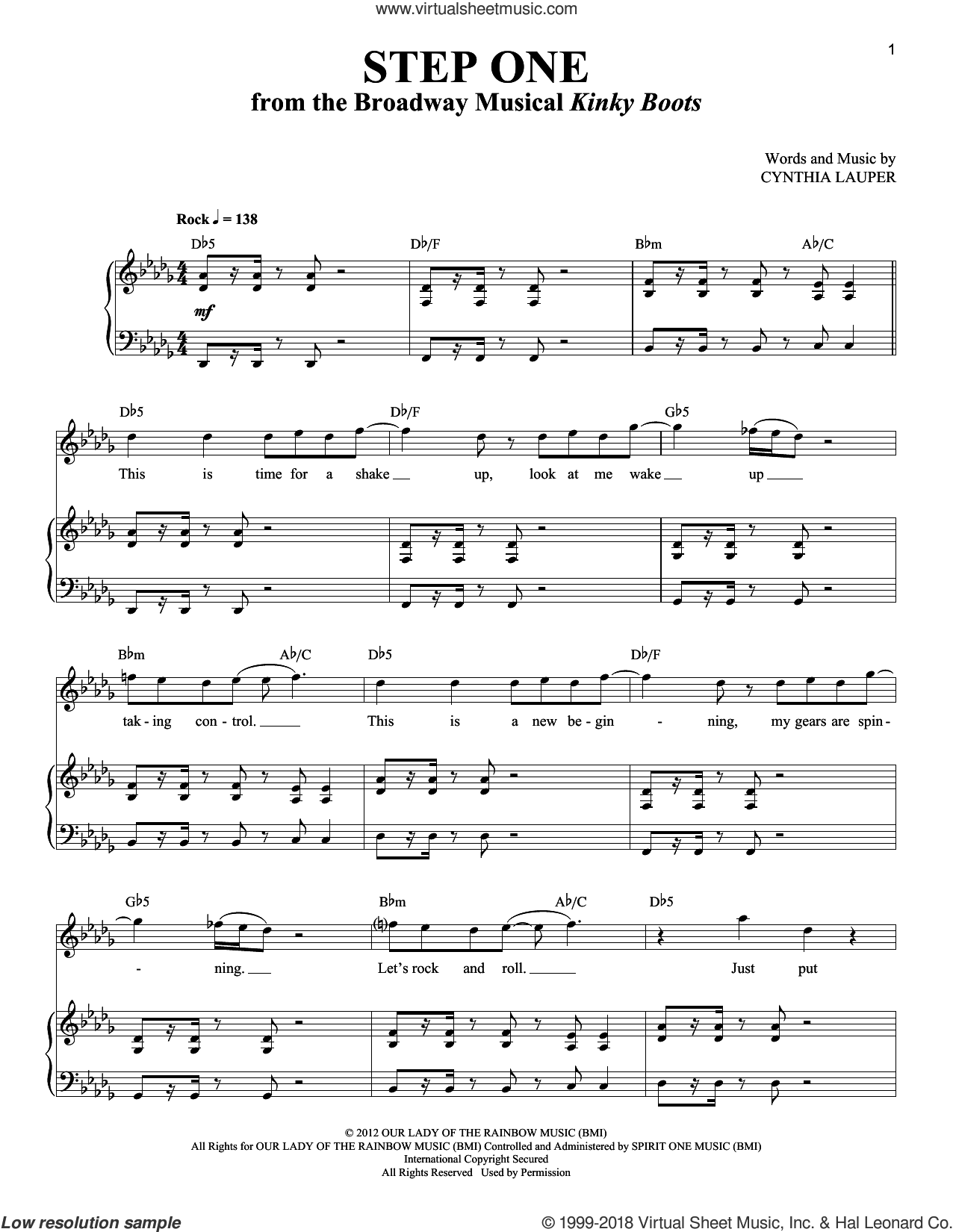 Step One sheet music for voice and piano by Cynthia Lauper and Kinky Boots (Musical), intermediate skill level