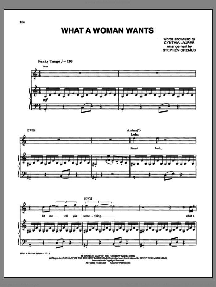 What A Woman Wants sheet music for voice and piano by Cynthia Lauper and Kinky Boots (Musical), intermediate skill level