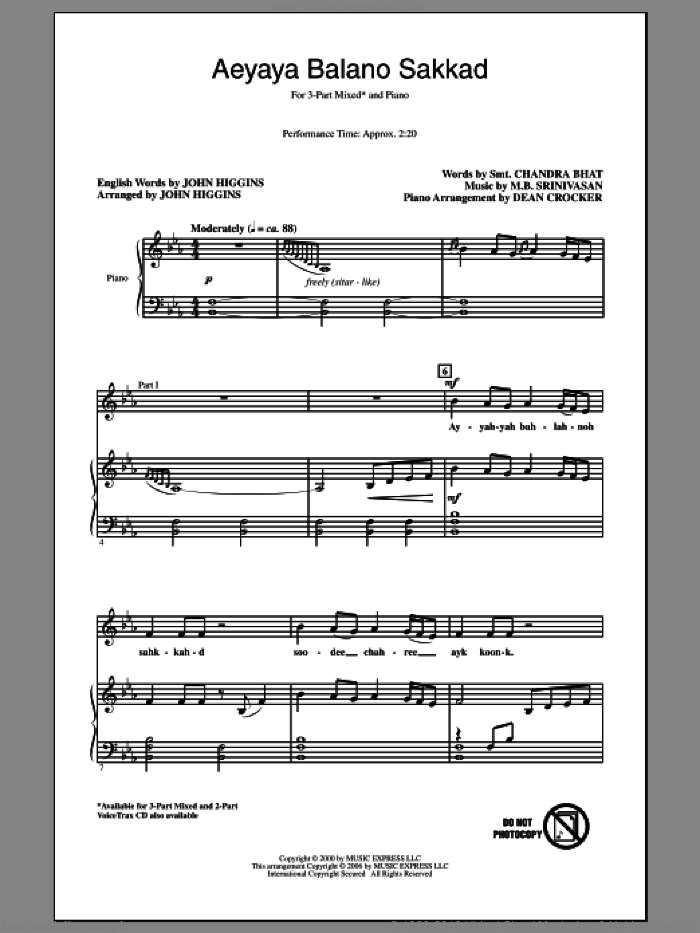 Aeyaya Balano Sakkad sheet music for choir and piano (chamber ensemble) by John Higgins. Score Image Preview.