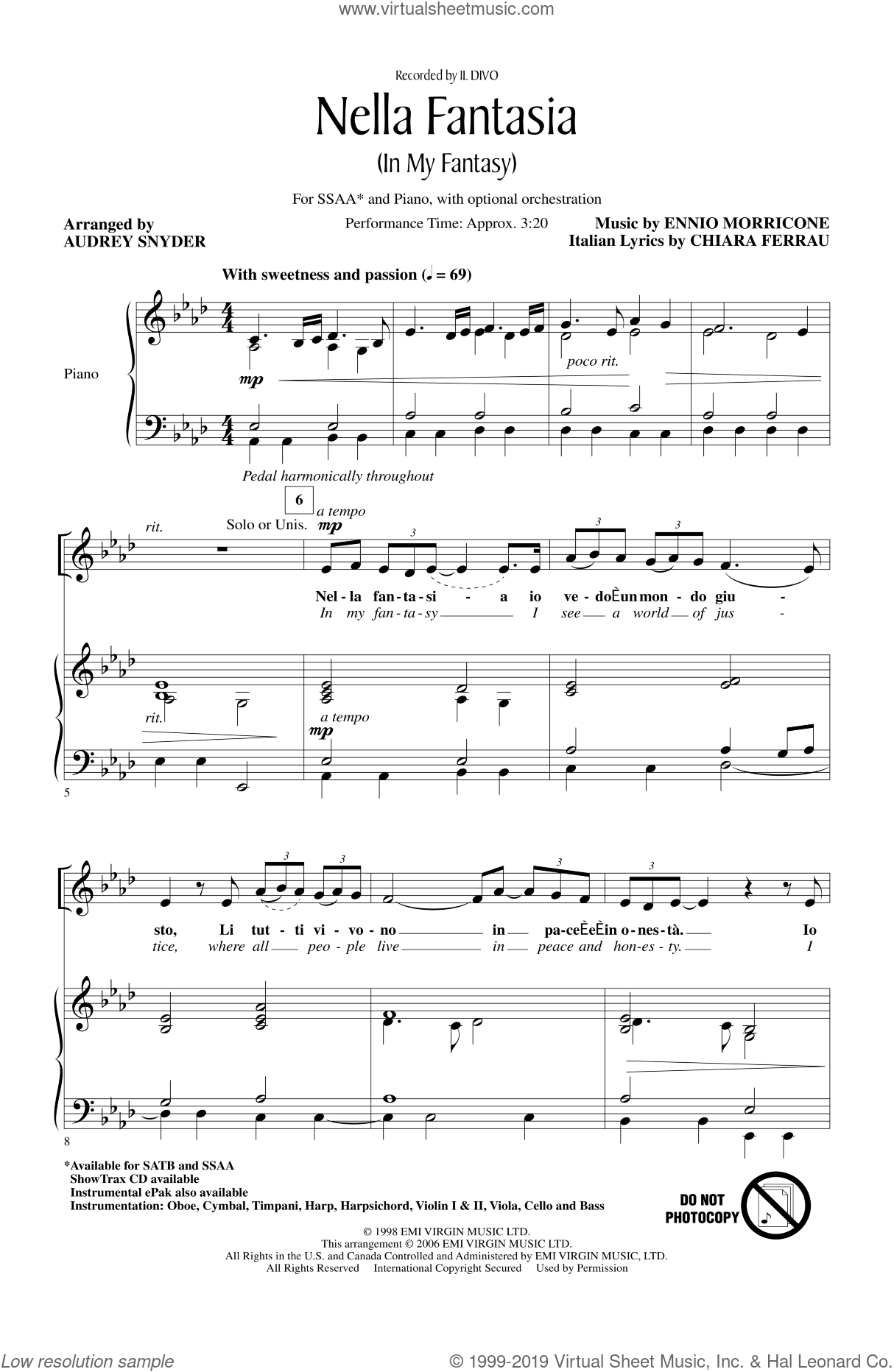 Nella Fantasia (In My Fantasy) sheet music for choir and piano (SSA) by Audrey Snyder