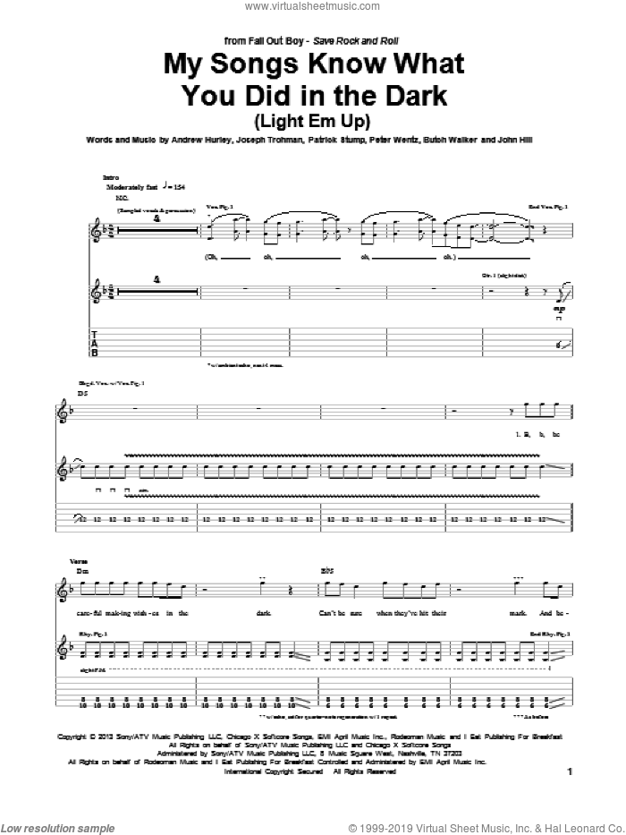 My Songs Know What You Did In The Dark (Light Em Up) sheet music for guitar (tablature) by Fall Out Boy. Score Image Preview.