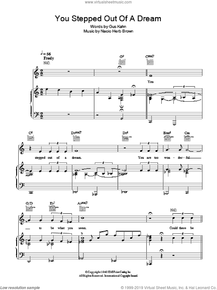 You Stepped Out Of A Dream sheet music for voice, piano or guitar by Gus Kahn and Nacio Herb Brown. Score Image Preview.