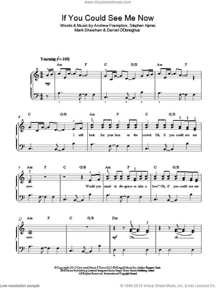 If You Could See Me Now sheet music for piano solo by The Script, Andrew Frampton, Mark Sheehan and Steve Kipner, easy skill level