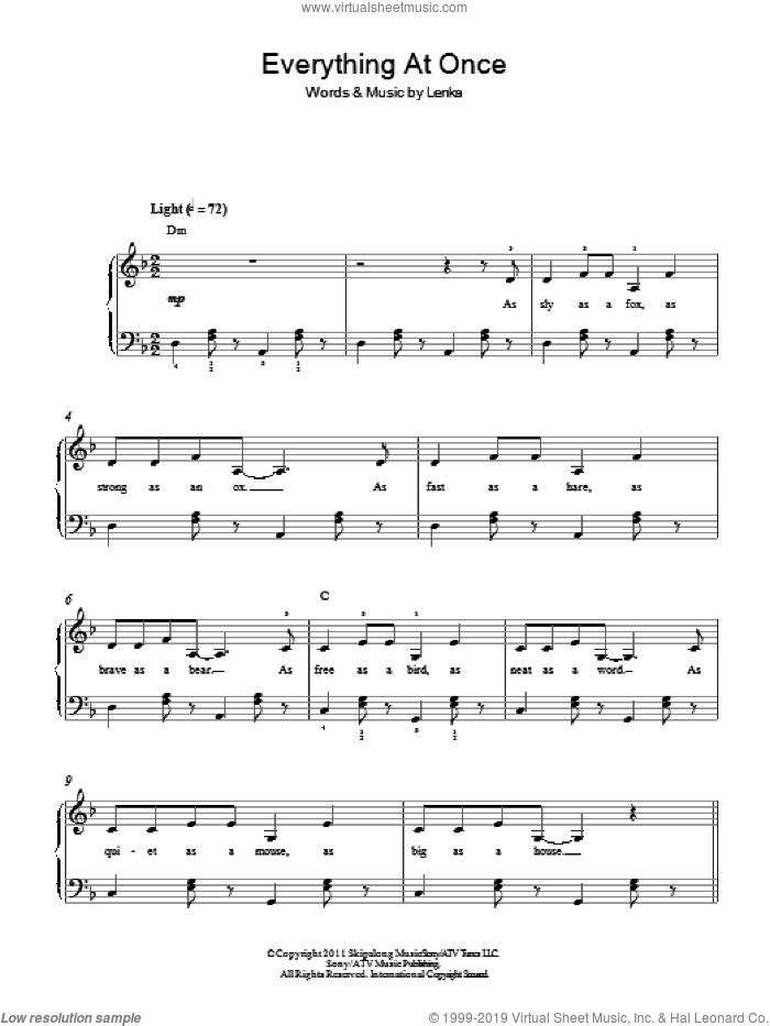 Everything At Once sheet music for piano solo (chords) by Lenka
