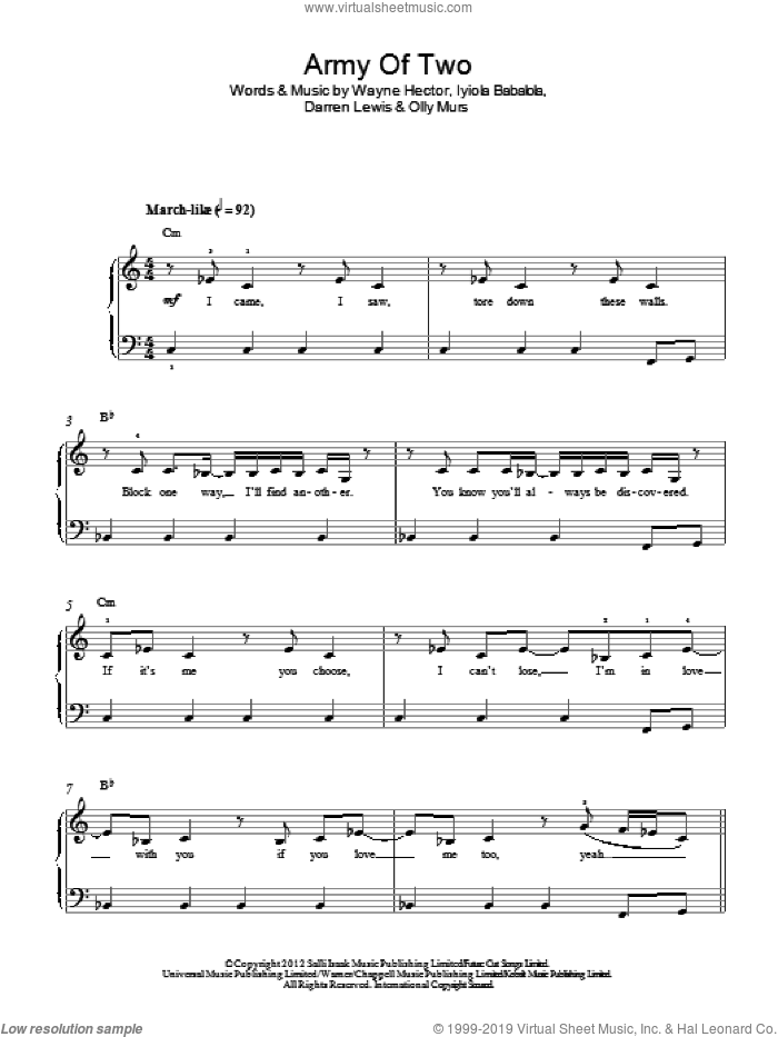 Army Of Two sheet music for piano solo by Olly Murs, Darren Lewis, Iyiola Babalola and Wayne Hector, easy skill level