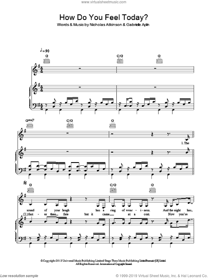 How Do You Feel Today? sheet music for voice, piano or guitar by Nicholas Atkinson