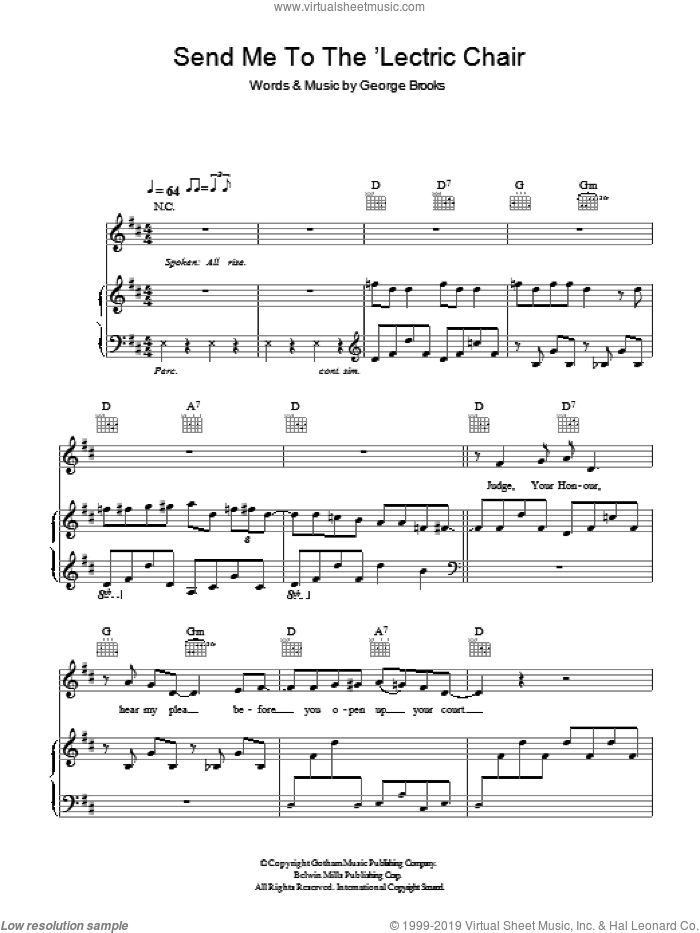 Send Me To The 'Lectric Chair sheet music for voice, piano or guitar by Hugh Laurie, intermediate voice, piano or guitar. Score Image Preview.