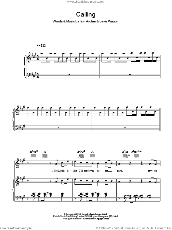 Calling sheet music for voice, piano or guitar by Iain Archer