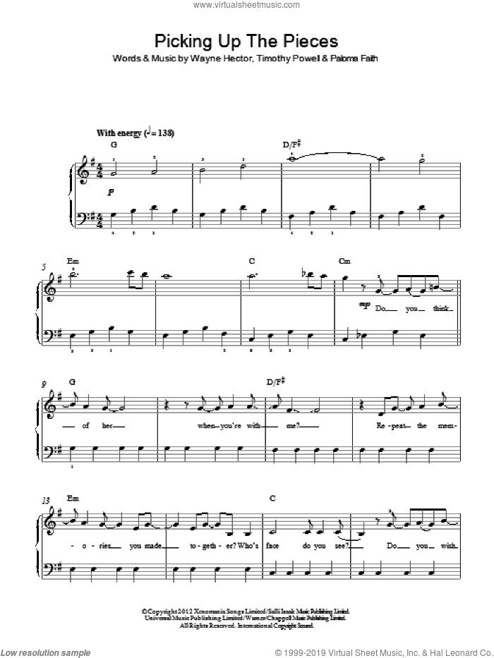 Picking Up The Pieces sheet music for piano solo by Timothy Powell, Paloma Faith and Wayne Hector. Score Image Preview.