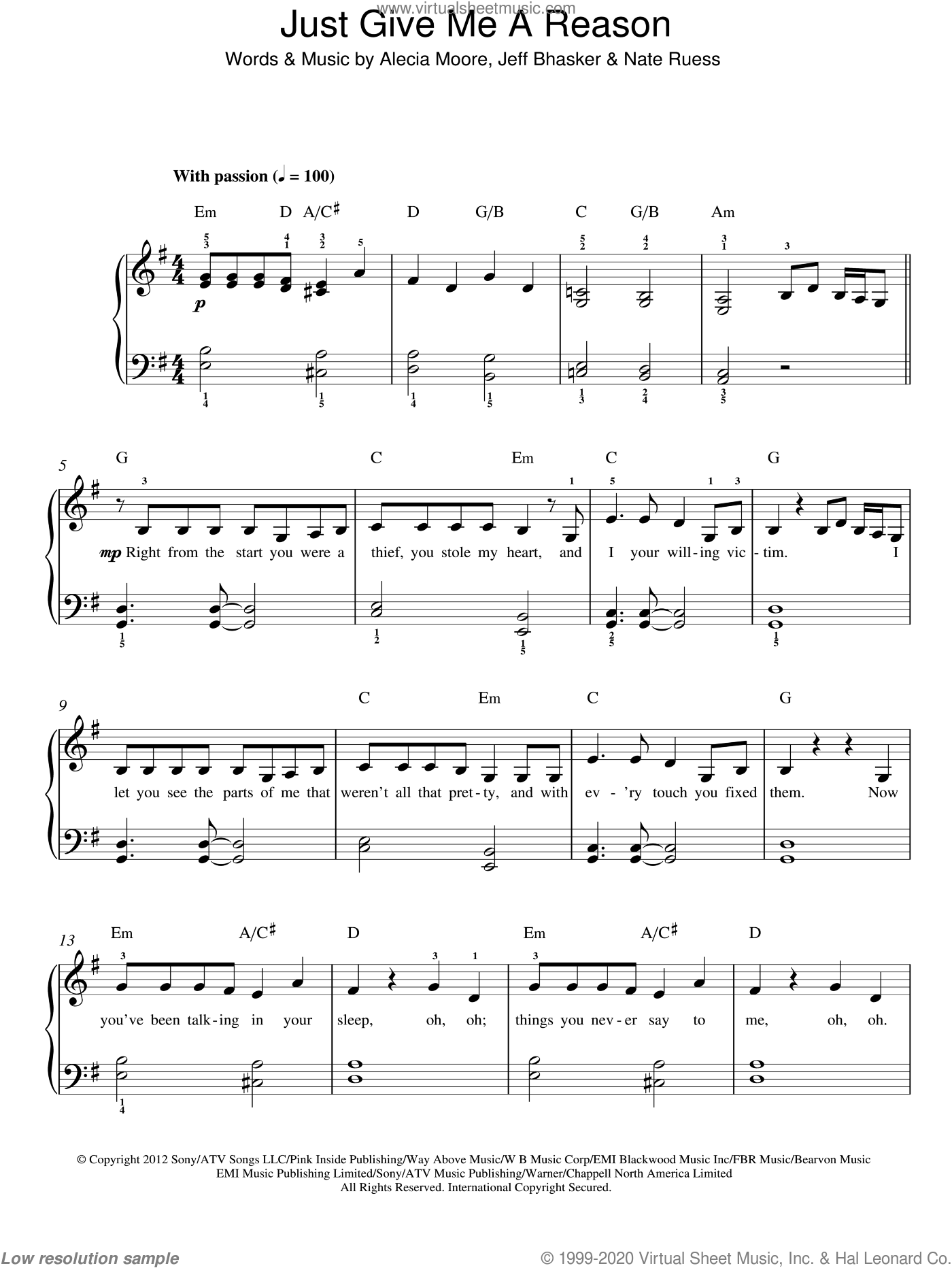 Just Give Me A Reason sheet music for piano solo by Alecia Moore, Jeff Bhasker and Nate Ruess. Score Image Preview.