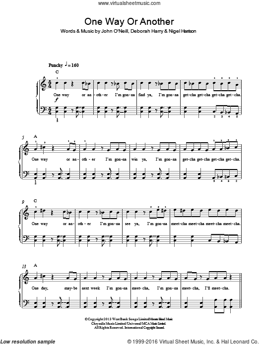 One Way Or Another (Teenage Kicks) sheet music for piano solo by Deborah Harry, One Direction and Nigel Harrison. Score Image Preview.