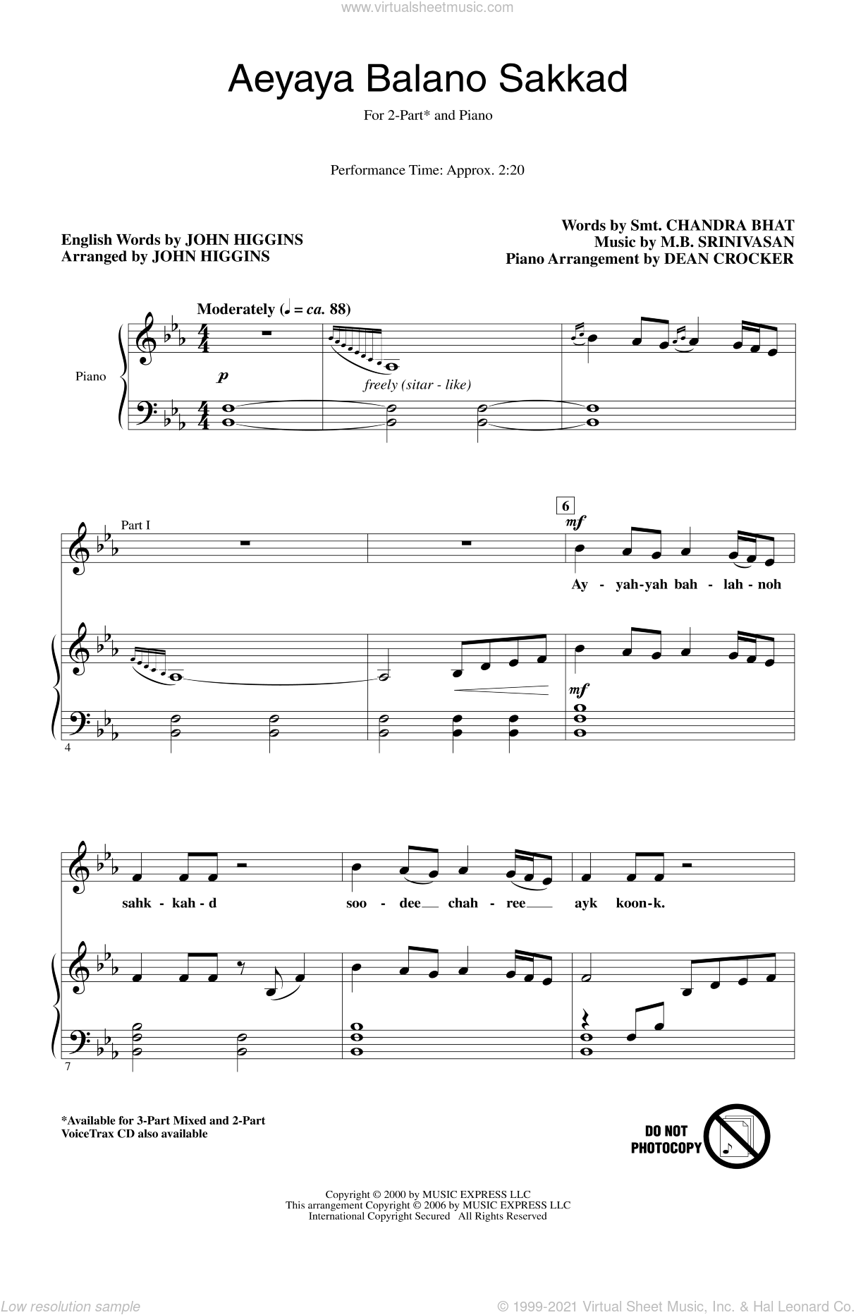 Aeyaya Balano Sakkad sheet music for choir and piano (duets) by John Higgins