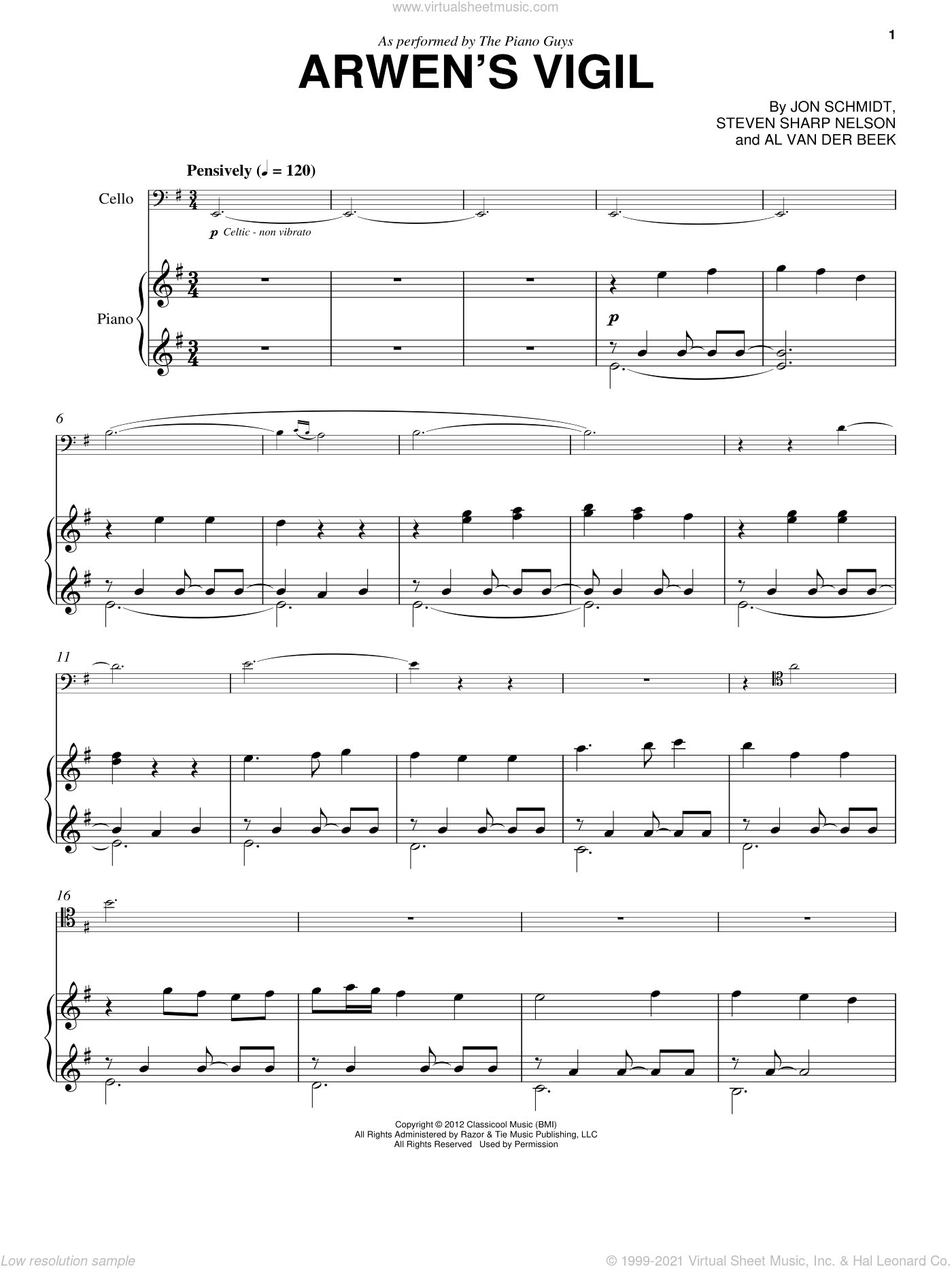 Arwen's Vigil sheet music for cello and piano by The Piano Guys, Al van der Beek, Jon Schmidt and Steven Sharp Nelson, classical score, intermediate skill level
