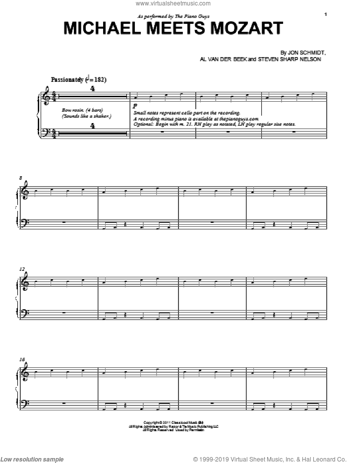 Michael Meets Mozart sheet music for piano solo by The Piano Guys, Al van der Beek and Jon Schmidt, classical score, intermediate skill level