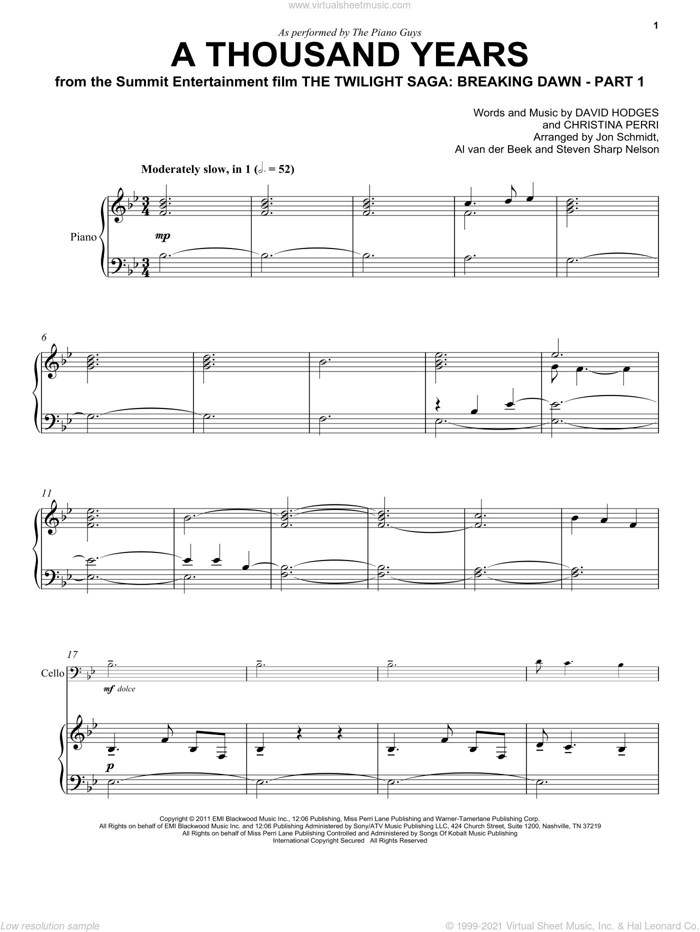 A Thousand Years sheet music for cello and piano by The Piano Guys, Christina Perri and David Hodges, classical wedding score, intermediate skill level