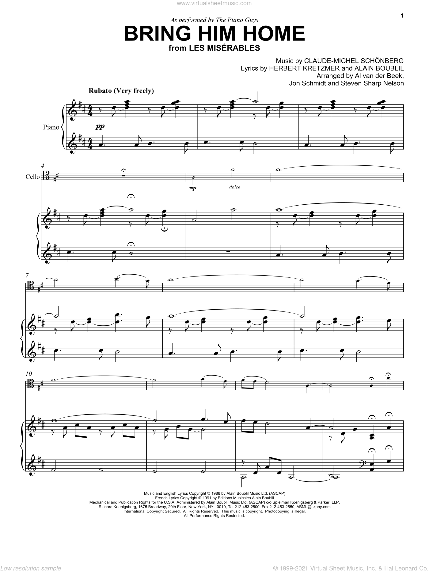 Bring Him Home sheet music for piano solo by The Piano Guys, Alain Boublil and Claude-Michel Schonberg, classical score, intermediate. Score Image Preview.