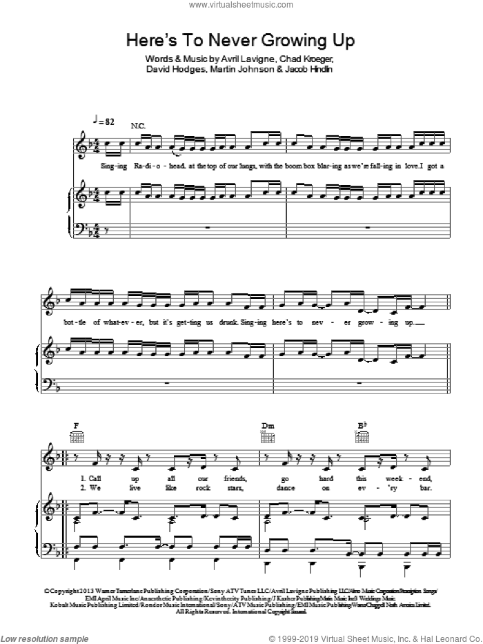 Here's To Never Growing Up sheet music for voice, piano or guitar by Avril Lavigne, Chad Kroeger, David Hodges, Jacob Hindlin and Martin Johnson, intermediate. Score Image Preview.