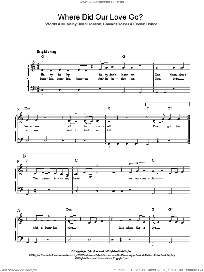 Where Did Our Love Go sheet music for piano solo by Lamont Dozier, Brian Holland and Eddie Holland. Score Image Preview.