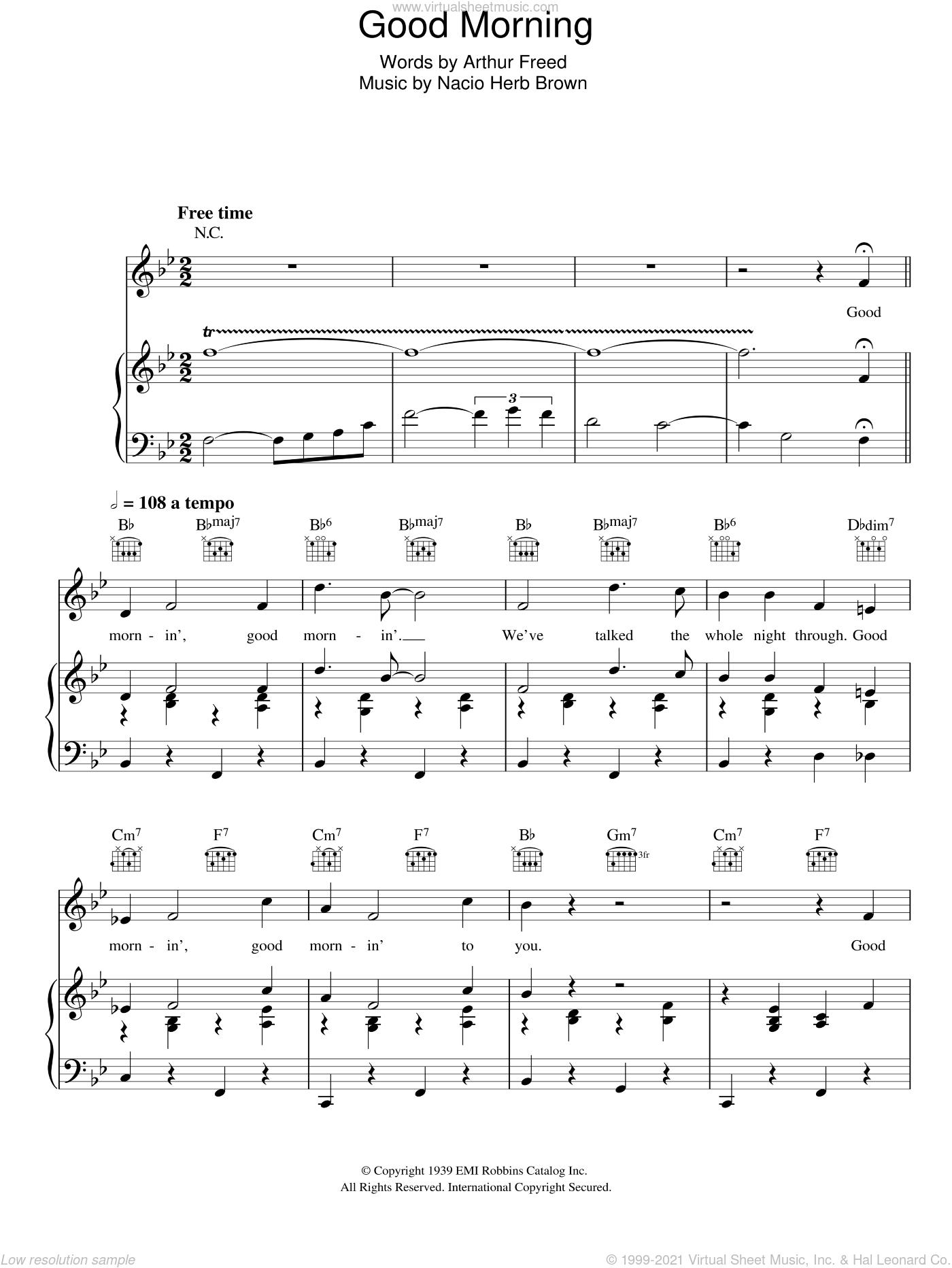 Good Morning (from Singin' In The Rain) sheet music for voice, piano or guitar by Nacio Herb Brown and Arthur Freed, intermediate skill level