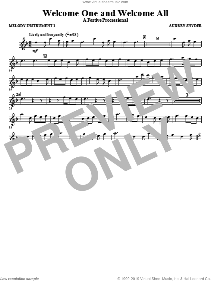 Welcome One And Welcome All, a festive processional sheet music for orchestra/band (c instrument i) by Audrey Snyder, intermediate skill level