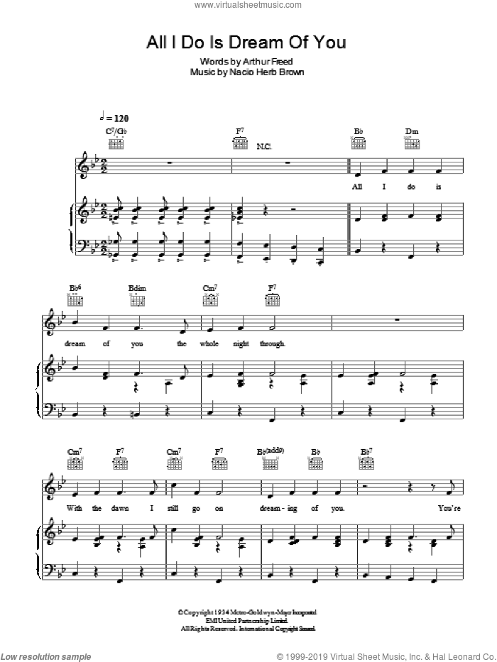 All I Do Is Dream Of You sheet music for voice, piano or guitar by Nacio Herb Brown and Arthur Freed, intermediate skill level
