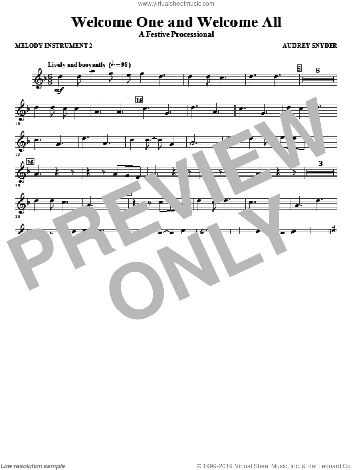 Welcome One And Welcome All, a festive processional sheet music for orchestra/band (c instrument ii) by Audrey Snyder, intermediate skill level