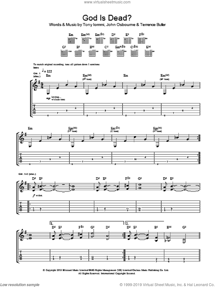 God Is Dead? sheet music for guitar (tablature) by Black Sabbath, intermediate guitar (tablature). Score Image Preview.