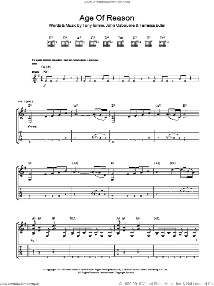 Age Of Reason sheet music for guitar (tablature) by Black Sabbath, intermediate. Score Image Preview.