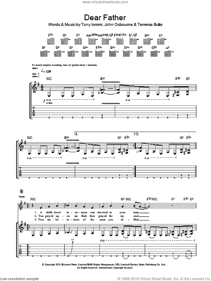 Dear Father sheet music for guitar (tablature) by Tony Iommi