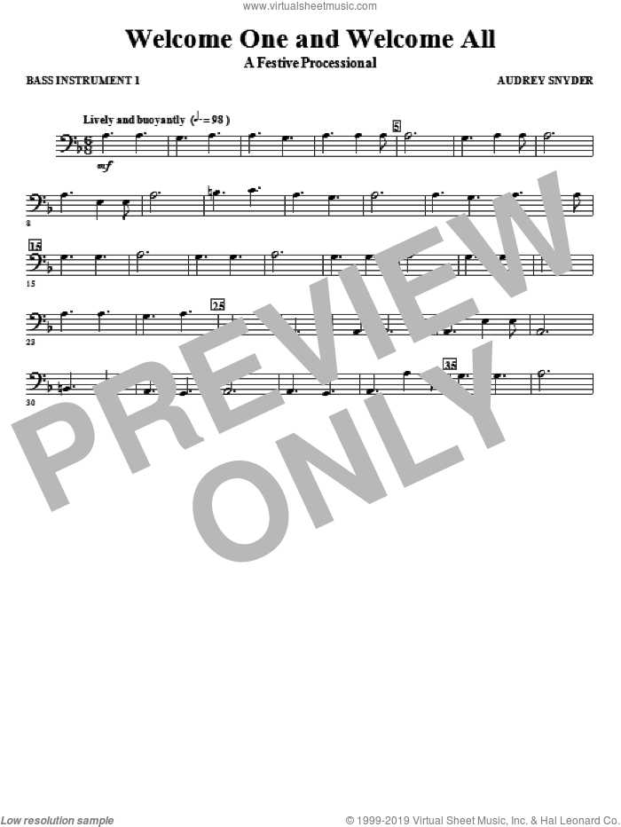 Welcome One And Welcome All, a festive processional sheet music for orchestra/band (c instrument iii) by Audrey Snyder, intermediate skill level