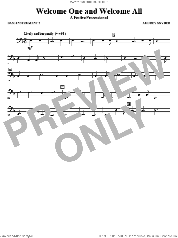 Welcome One And Welcome All, a festive processional sheet music for orchestra/band (c instrument iv) by Audrey Snyder, intermediate skill level