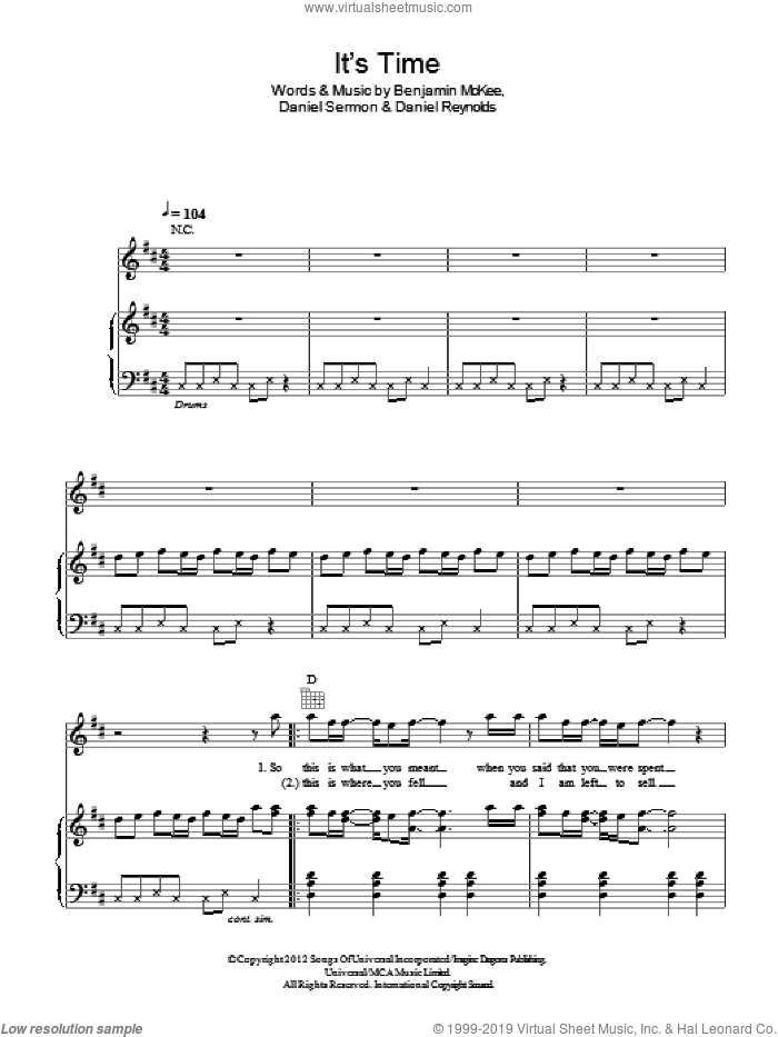 It's Time sheet music for voice, piano or guitar by Imagine Dragons, Benjamin McKee, Daniel Reynolds and Daniel Sermon, intermediate skill level