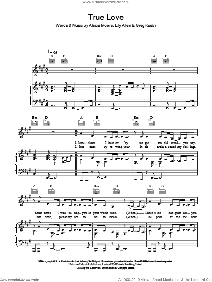 True Love sheet music for voice, piano or guitar by Lily Allen, Alecia Moore and Greg Kurstin. Score Image Preview.