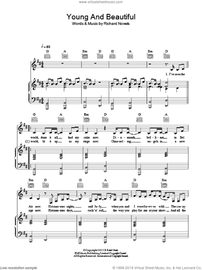 Young And Beautiful sheet music for voice, piano or guitar by Lana Del Rey and Rick Nowels, intermediate skill level