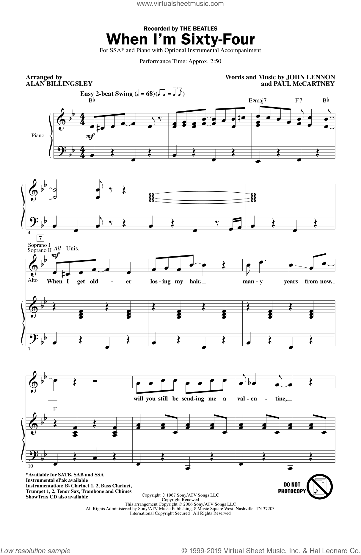 When I'm Sixty-Four sheet music for choir (SSA: soprano, alto) by The Beatles, Alan Billingsley, John Lennon and Paul McCartney, intermediate