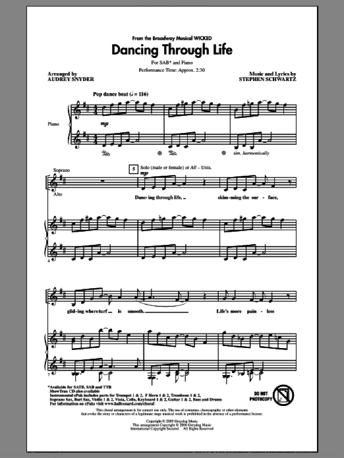 Dancing Through Life sheet music for choir (SAB) by Stephen Schwartz and Audrey Snyder, intermediate choir (SAB). Score Image Preview.