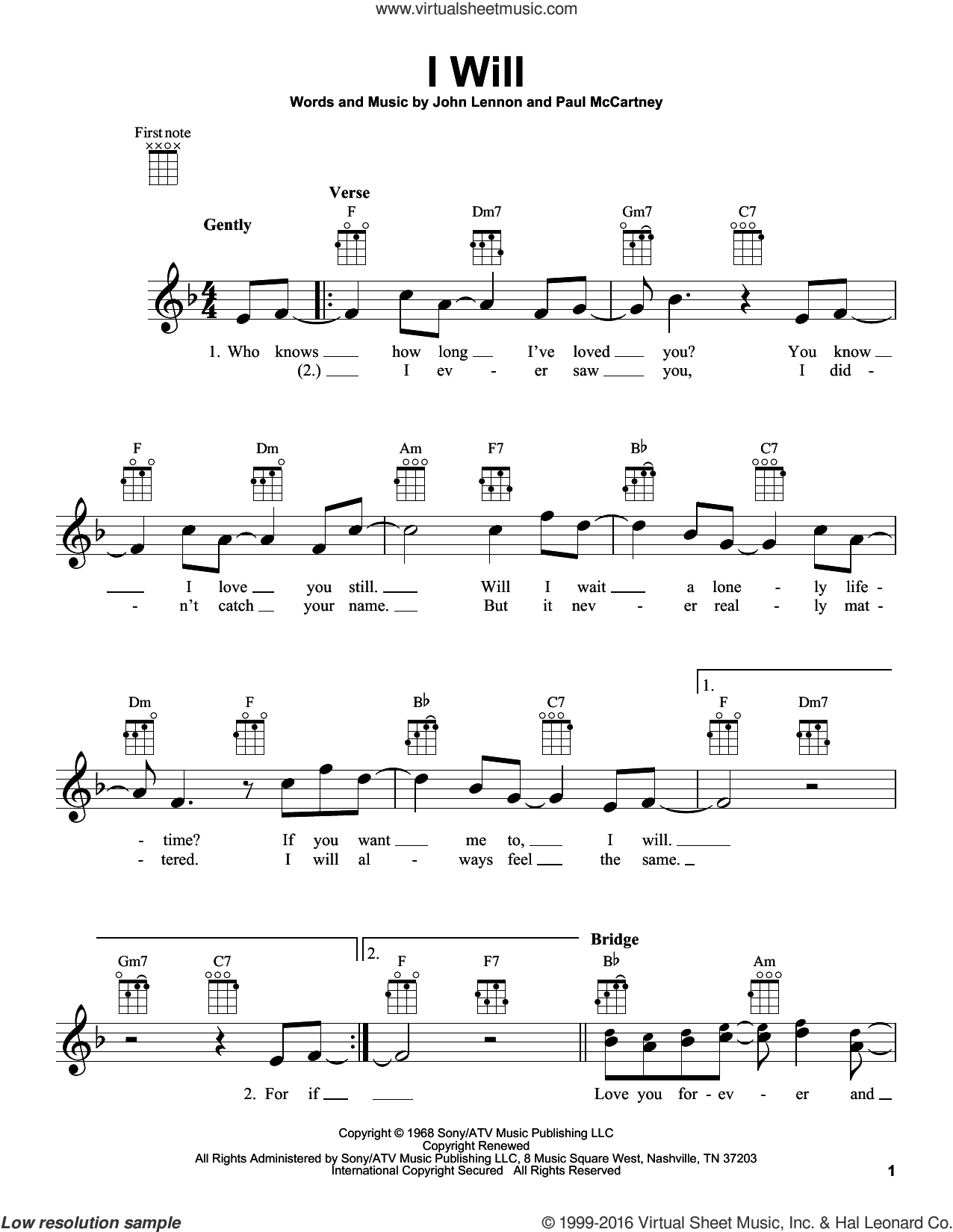 I Will sheet music for ukulele by Paul McCartney, John Lennon and The Beatles. Score Image Preview.
