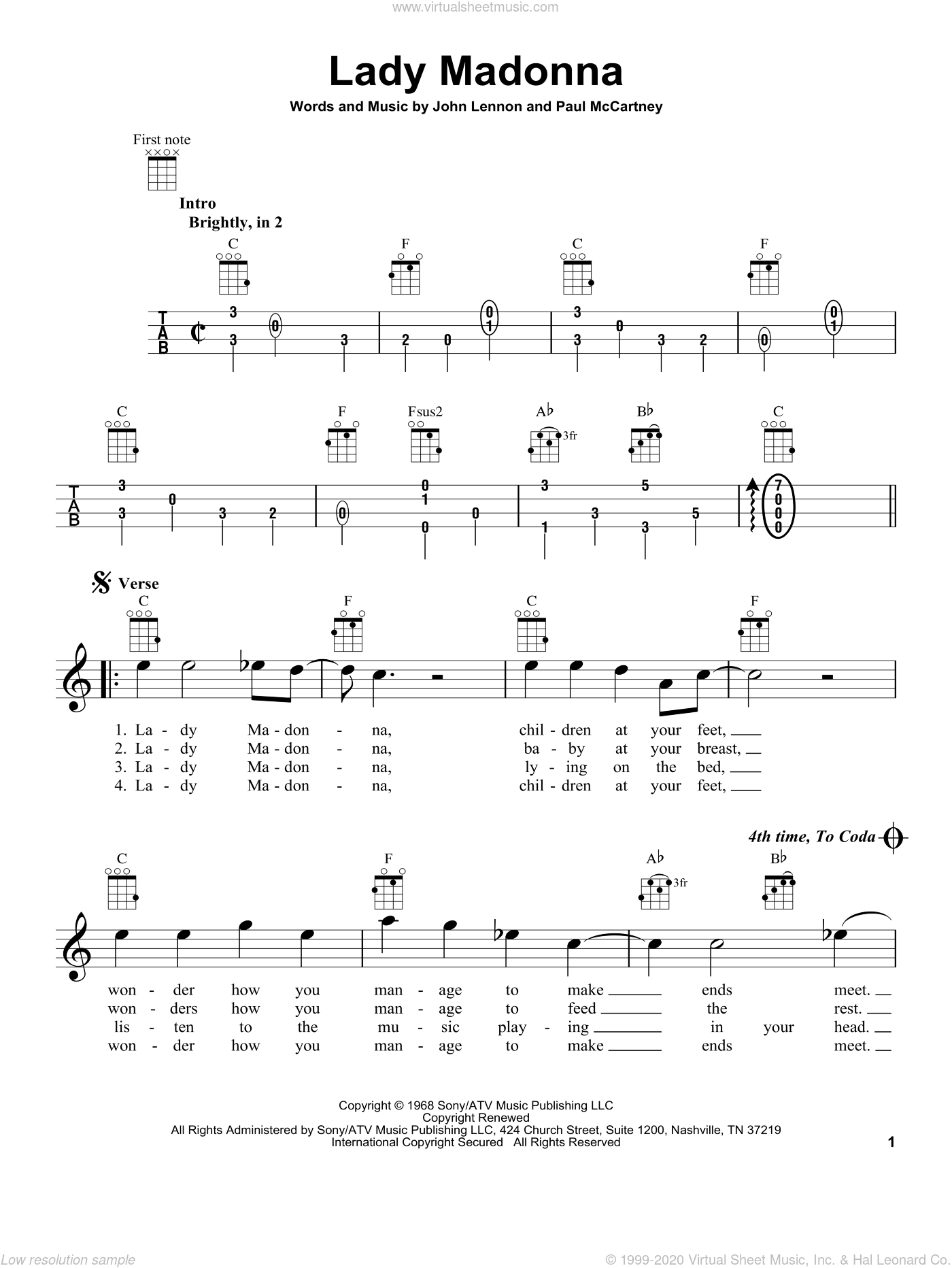 Lady Madonna sheet music for ukulele by Paul McCartney, John Lennon and The Beatles. Score Image Preview.