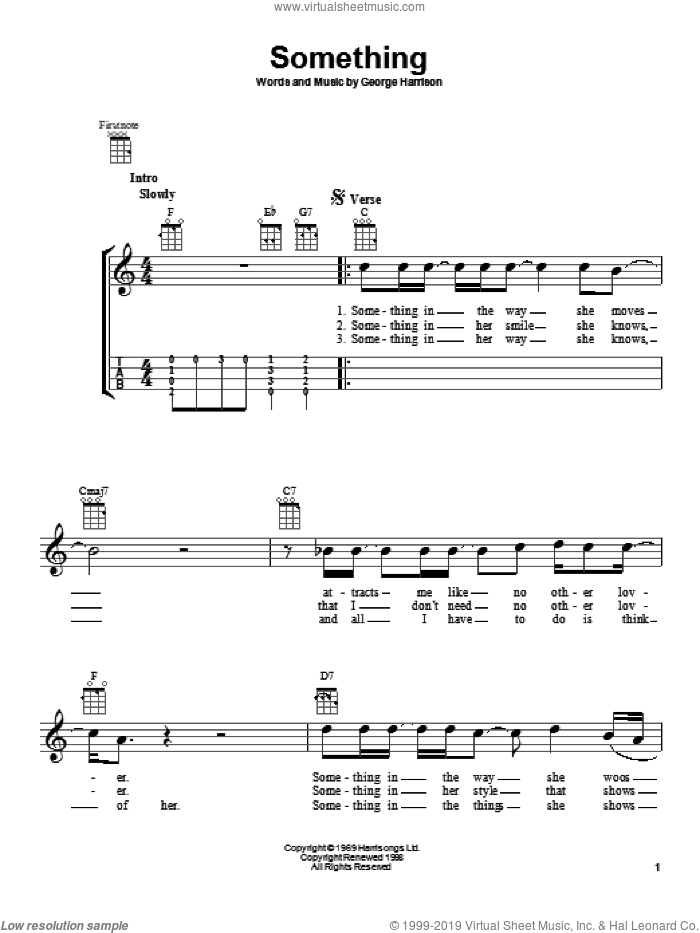 Something sheet music for ukulele by The Beatles and George Harrison, intermediate skill level