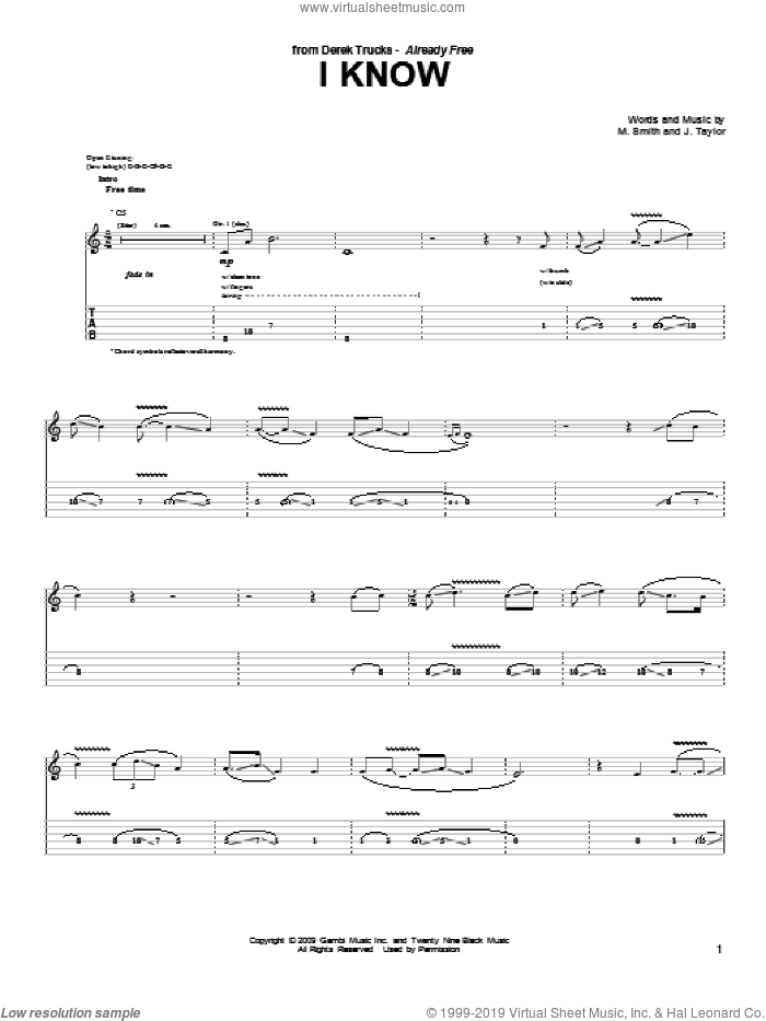 I Know sheet music for guitar solo (tablature) by Derek Trucks