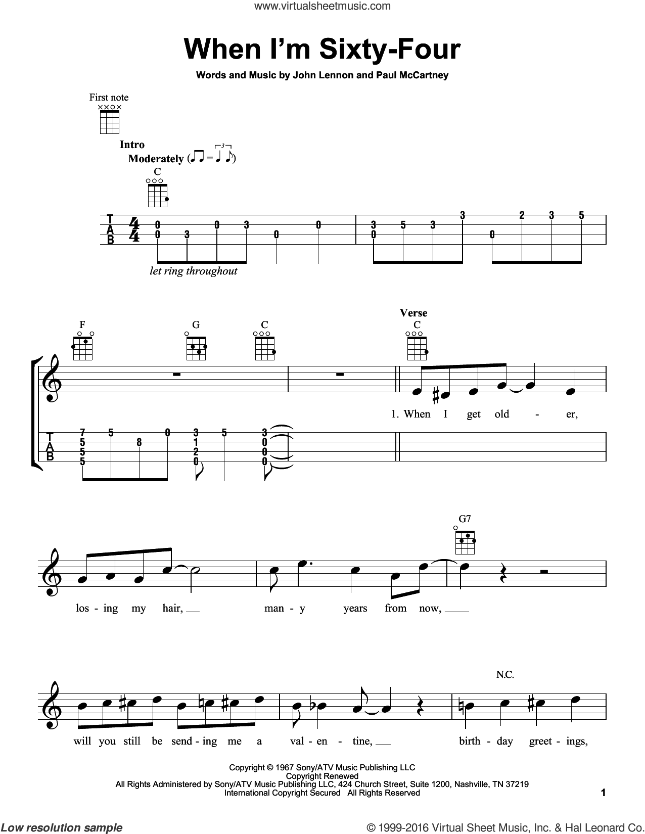 When I'm Sixty-Four sheet music for ukulele by The Beatles, John Lennon and Paul McCartney, intermediate skill level