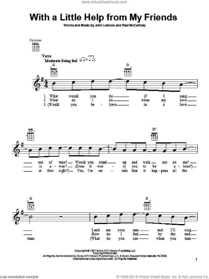 With A Little Help From My Friends sheet music for ukulele by The Beatles, John Lennon and Paul McCartney, intermediate skill level