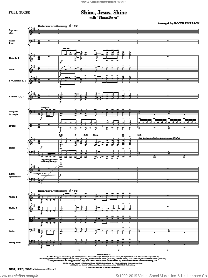 Shine Jesus Shine (with Shine Down) (complete set of parts) sheet music for orchestra/band (Orchestra) by Roger Emerson, Billy Smiley, Bob Farrell and Mark Gersmehl, intermediate skill level