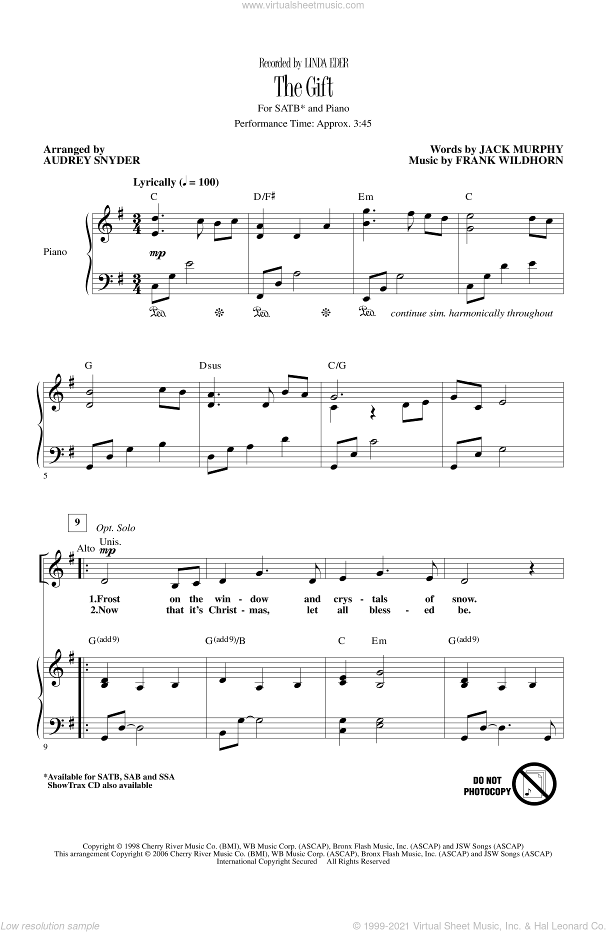 The Gift sheet music for choir and piano (SATB) by Audrey Snyder