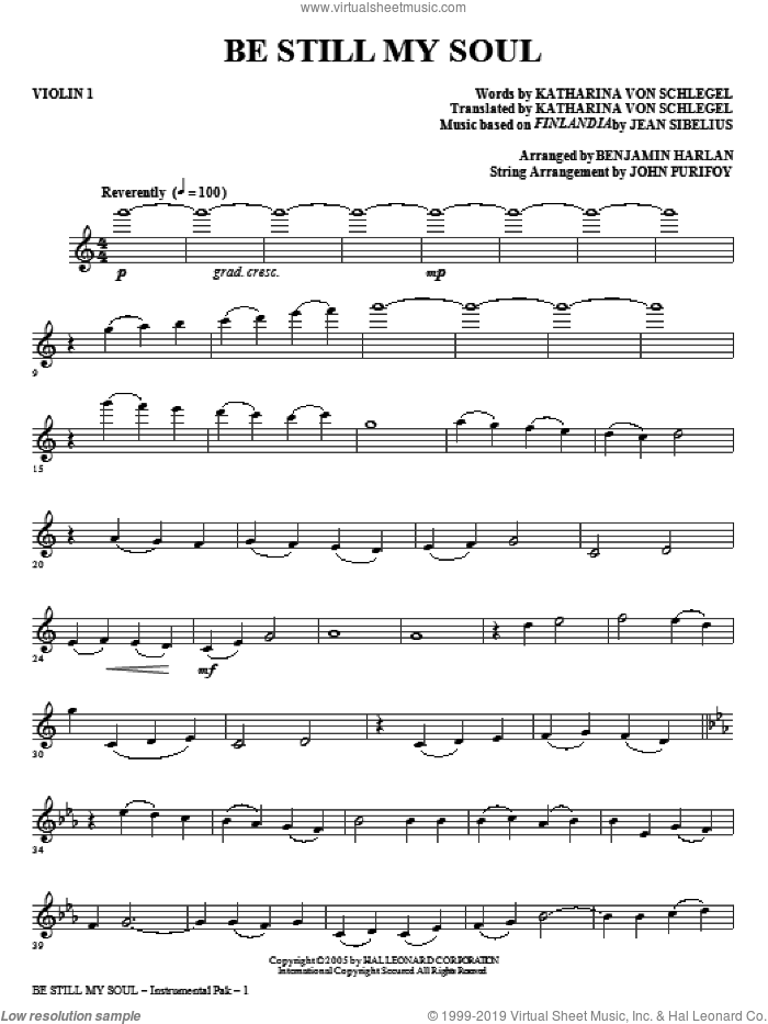 Be Still My Soul (complete set of parts) sheet music for orchestra/band (Strings) by Jean Sibelius, Jane L. Borthwick, Katharina von Schegel and Benjamin Harlan, intermediate skill level