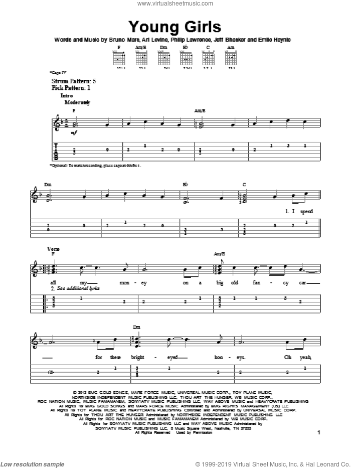 Young Girls sheet music for guitar solo (easy tablature) by Bruno Mars, easy guitar (easy tablature). Score Image Preview.