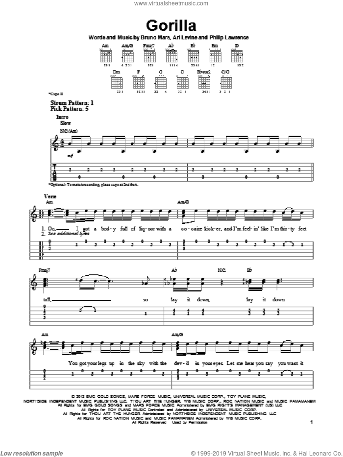 Gorilla sheet music for guitar solo (easy tablature) by Bruno Mars, easy guitar (easy tablature). Score Image Preview.